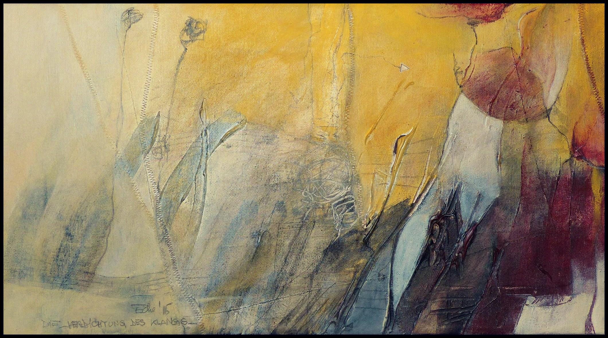 Verdichtung des Klangs / 31 x 56 / Aquarellstift und Acryl auf Leinen / © Eche Wregg